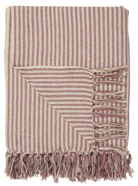 Decke creme/malve breit gestreift