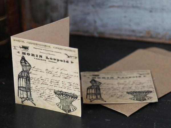 Karte mit Krone mit Umschlag 7 x 7 cm