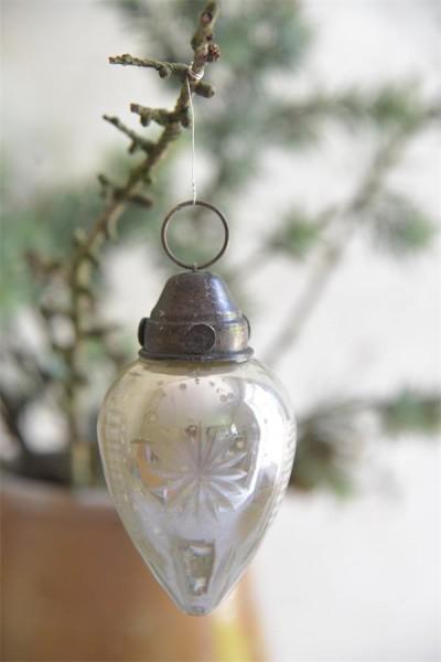 Weihnachtsschmuck Kegel Antique Silver Finish