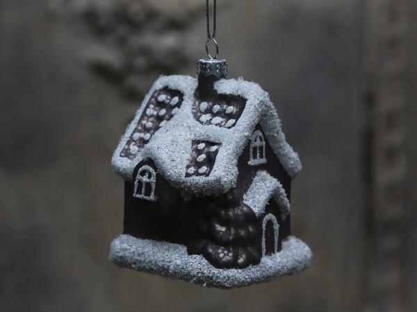 Lebkuchenhaus mit Schneeglitzer antique mocca