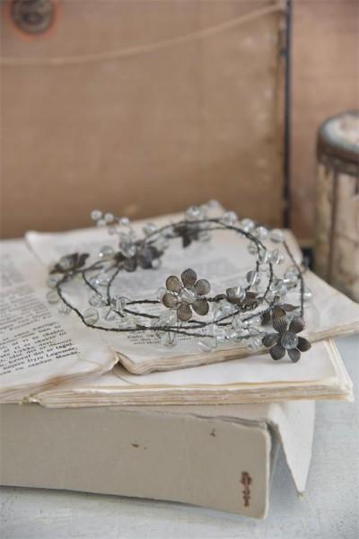 Wickel- / Zierdraht mit Perlen und Blumen