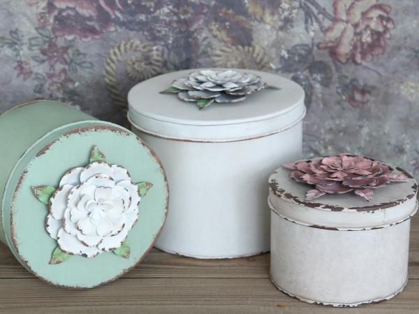 Aufbewahrungs-Set m. Rosen antik weiß/grün (3)