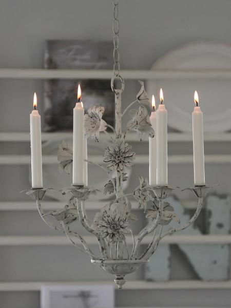 Lüster 6-armig für Kerzen antique weiß H 48 / D 46 cm