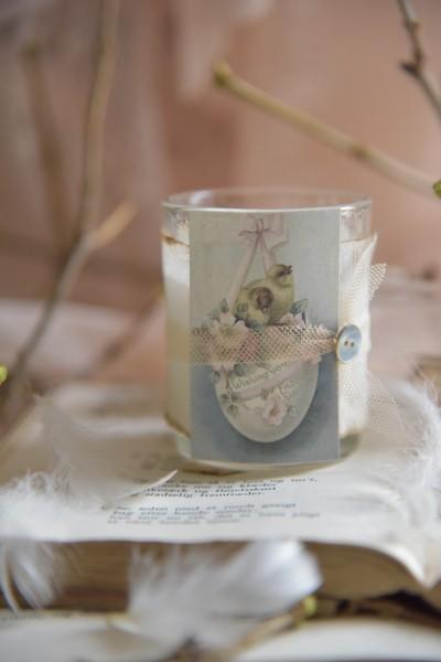 Kerze im Glas mit lieblicher Osterdeko + Duft (2)