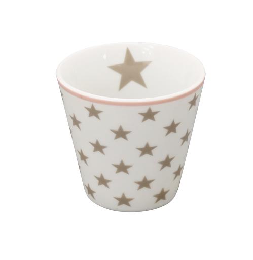 """Happy Espresso """"weiß mit taupe Sternen"""""""