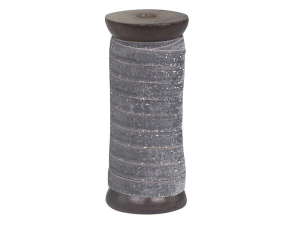 Veloursband mit Glimmer silber