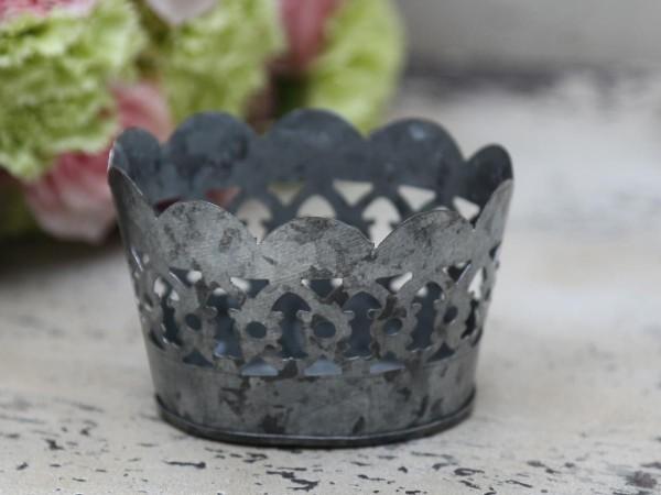 Teelichthalter mit Spitzenkante antik Zink