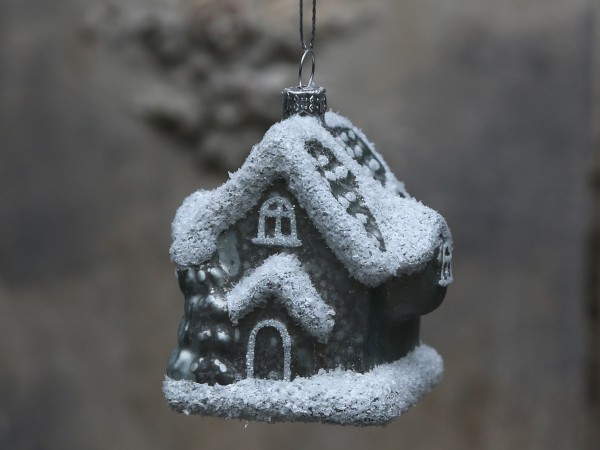 Lebkuchenhaus mit Schneeglitzer antique verte