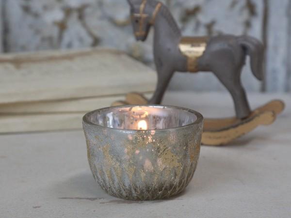 Teelichthalter mit Goldglimmer