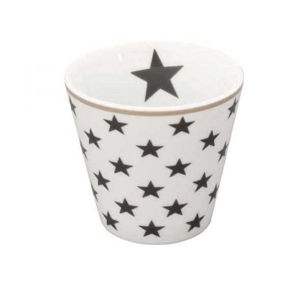 """Happy Espresso """"weiß mit anthrazitfarbenen Sternen"""""""