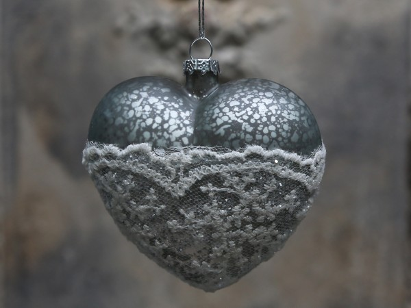 Weihnachtskugel Herz mit Spitze antique verte