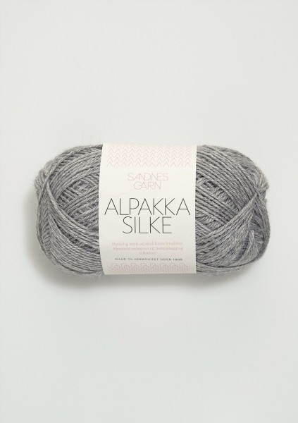 Alpakka Seide Hellgraumeliert