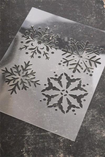 Vintage Paint Schablone Schneeflocken