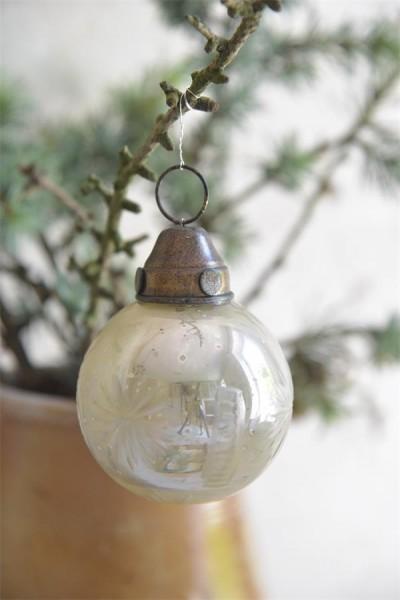 Weihnachtsschmuck Kugel Antique Silver Finish