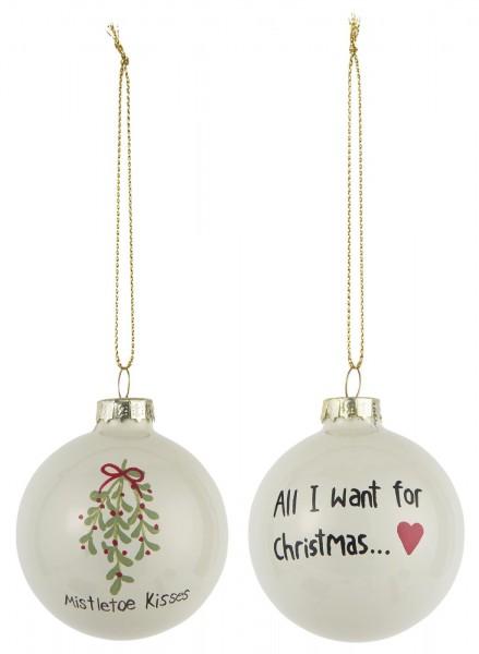 Weihnachtskugeln All I want + Mistletoe (2)
