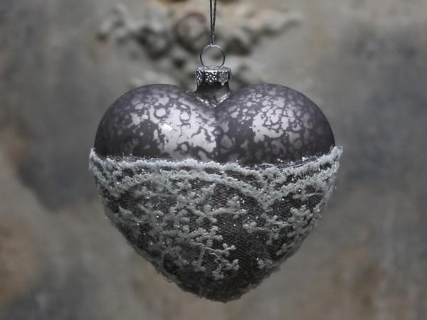 Weihnachtskugel Herz mit Spitze antique mocca