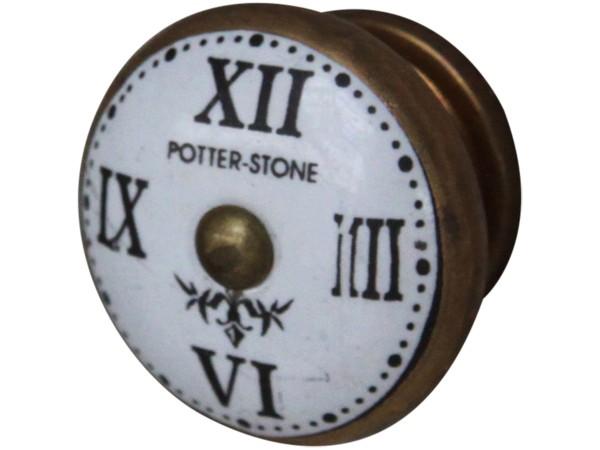 Griff mit röm. Zahlen antique Messing look D 4cm