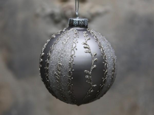 Weihnachtskugel mit Glimmer antique mocca