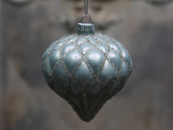Weihnachtskugel in Tropfenform antique verte
