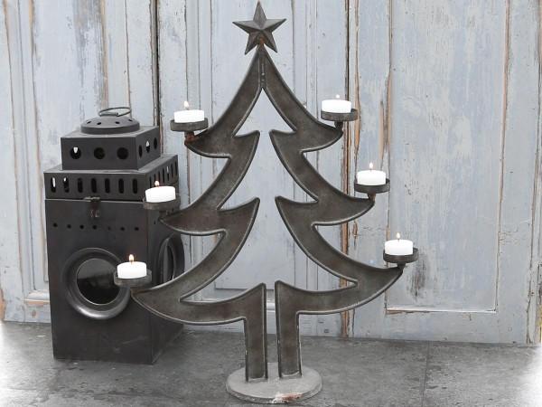 """Leuchter """"Weihnachtsbaum"""" für 6 Teelichter antik grau"""