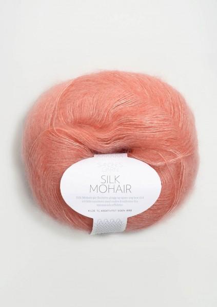 Silk Mohair Korallmeliert