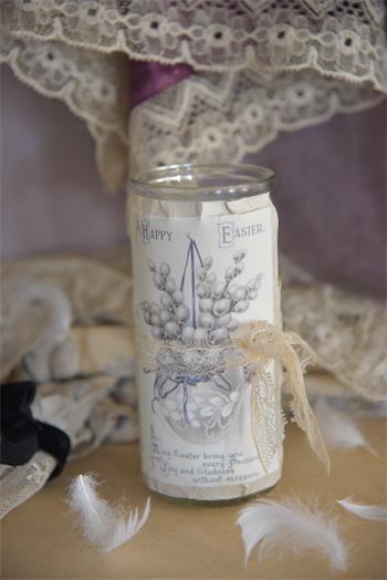 Kerze im Glas mit Ostermotiv
