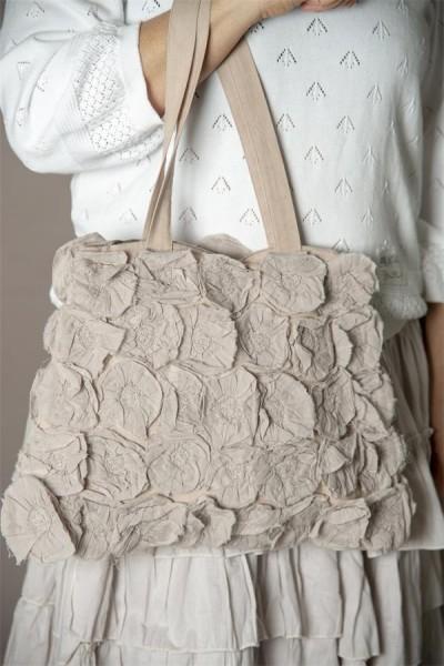 Tasche Flower Rosettes white
