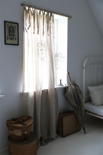 "Leinenvorhang ""J. Giraud"" L 220 cm weiß"