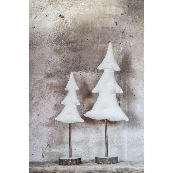Tannenbaum aus Leinen mit Holzfuß