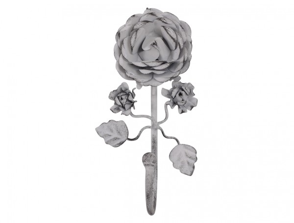 Garderobenhaken mit Rosen antique weiß L 16 cm