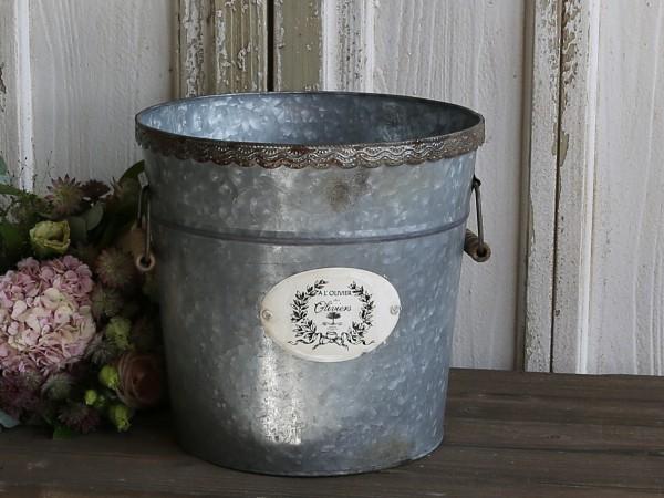 Franz. Behälter mit Spitzenkante aus antik Zink
