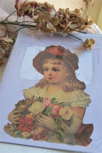 Scrap mit schönem nostagischem Blumenmädchen