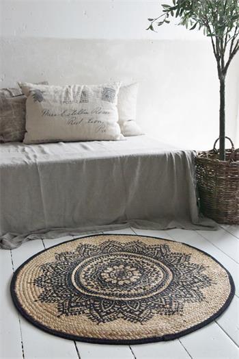 Teppich aus Jute mit Aufdruck