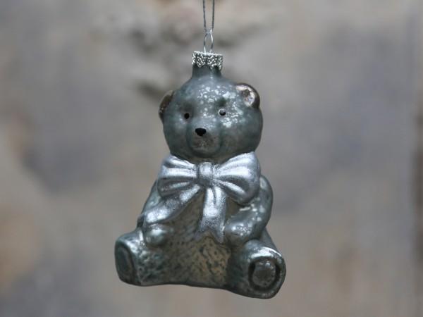 Weihnachtskugel Teddybär antique verte