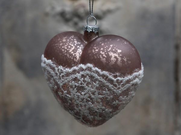 Weihnachtskugel Herz mit Spitze antique rose